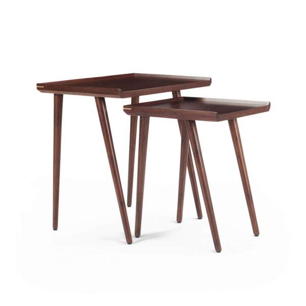 Sonata nest of 2 rectangular tables made in teak with retro legs & brass inlay detail. Finished in medium walnut polish
