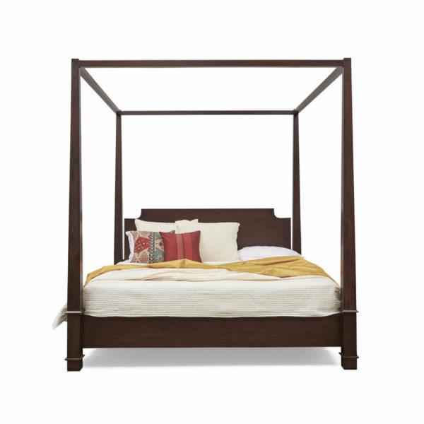 Elizabeth 4 poster bed in teak. Simple headboard & tapering posters connected with teak members at the top. Dark walnut polish