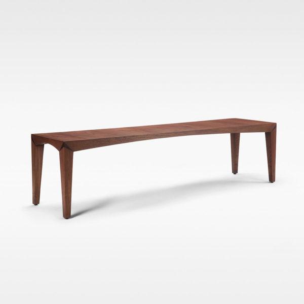 Roark dining bench in teakwood and teak veneer seat