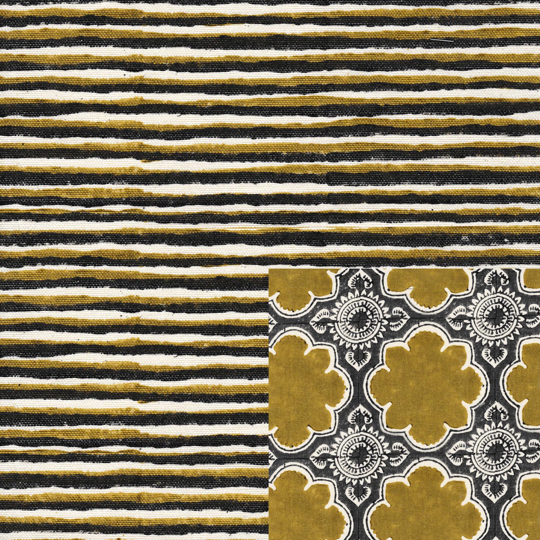 Batik Stripes Woodbine Pewter with Lanka Woodbine Pewter